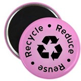 Pink Reduce Reuse Recycle Magnet