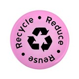 "Pink Reduce Reuse Recycle 3.5"" Button (100 pack)"