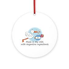 Stork Baby Argentina USA Ornament (Round)