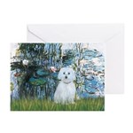 Lilies #1 - Maltese (B) Greeting Cards (Pk of 10)
