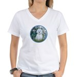 Lilies #1 - Maltese (B) Women's V-Neck T-Shirt