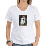 Ophelia (#1) - Maltese (B) Women's V-Neck T-Shirt