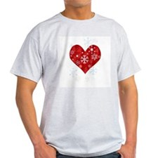Snow Flake Heart Ash Grey T-Shirt