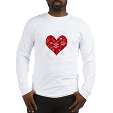 Snow Flake Heart Long Sleeve T-Shirt