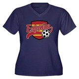 Espana Soccer Women's Plus Size V-Neck Dark T-Shir