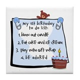1st Birthday To Do's Blue Tile Coaster
