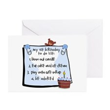 1st Birthday To Do's Blue Greeting Cards (Pk of 10