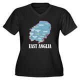 East Anglia Map Women's Plus Size V-Neck Dark T-Sh