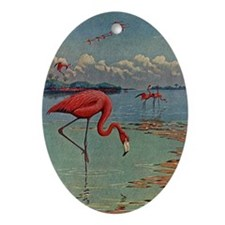 Flamingo Art Ornament (Oval)
