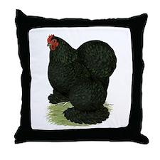 Cochin: Black Hen Throw Pillow