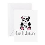 Panda January Due Date Greeting Card