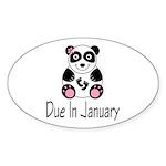 Panda January Due Date Sticker (Oval)