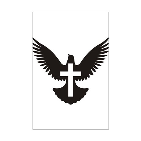 Dove cross Mini Poster Print