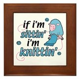 Knitting Sitting Sheep Framed Tile