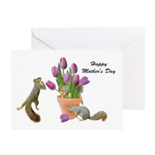 Squirrels with Pink Tulips Greeting Card