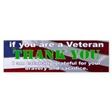 Thank you Veterans Bumper Sticker Car Sticker