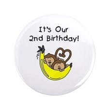 "Twin Boys 2nd Birthday 3.5"" Button"