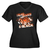 I Bleed Orange & Black Heart Women's Plus Size V-N
