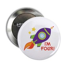 "4th Birthday Rocketship 2.25"" Button"