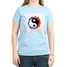 Ying Yang Ice and Fire Women's Pink T-Shirt