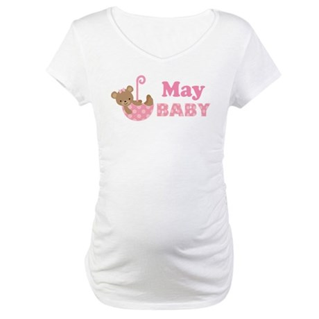 Cute May Pink Teddy Bear Announcement Maternity T-