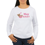 Cute May Pink Teddy Bear Announcement Women's Long