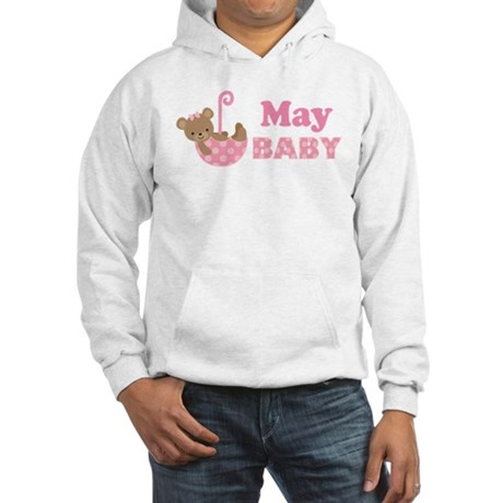 Cute May Pink Teddy Bear Announcement Hooded Sweat
