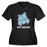West Midlands Women's Plus Size V-Neck Dark T-Shir