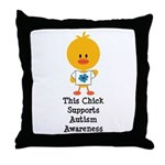 Autism Awareness Chick Throw Pillow