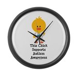 Autism Awareness Chick Large Wall Clock