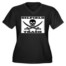 Oil Field Trash,Skull Women's Plus Size V-Neck Dar