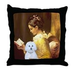 Reading / Maltese Throw Pillow