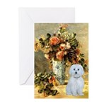 Vase / Maltese (B) Greeting Cards (Pk of 10)