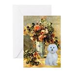 Vase / Maltese (B) Greeting Cards (Pk of 10)