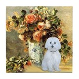 Vase / Maltese (B) Tile Coaster