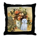 Vase / Maltese (B) Throw Pillow