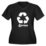 Recycle Karma Women's Plus Size V-Neck Dark T-Shir