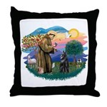 St Francis #2/ Belgian Shep Throw Pillow
