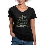 Plant A Tree Women's V-Neck Dark T-Shirt