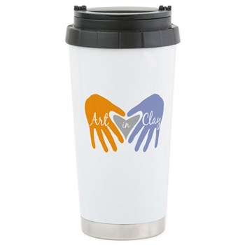Art in Clay / Heart / Hands Ceramic Travel Mug