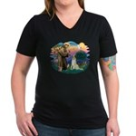 St Francis #2/ Borzoi Women's V-Neck Dark T-Shirt