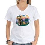 St Francis #2/ Shar Pei (#3) Women's V-Neck T-Shir