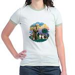 St Francis 2F - Two Shelties Jr. Ringer T-Shirt