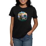 St Francis 2F - Two Shelties Women's Dark T-Shirt