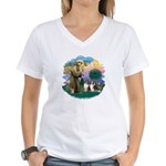 St Francis 2F - Two Shelties Women's V-Neck T-Shir