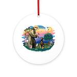 St Francis #2/ Doberman Ornament (Round)