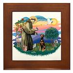 St Francis #2/ Doberman Framed Tile