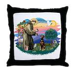 St Francis #2/ Doberman Throw Pillow