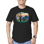 St Francis #2/ Doberman Men's Fitted T-Shirt (dark
