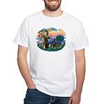 St Francis #2/ Doberman White T-Shirt